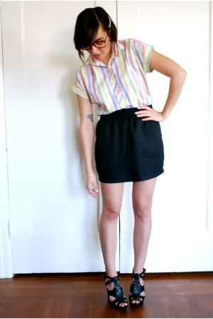 thrifted vintage blouse - American Apparel skirt - Steve Madden shoes - thrifted