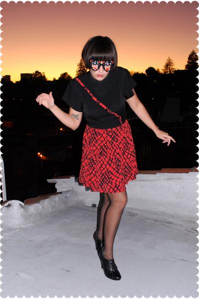 vintage dress - Longs stockings - seychelles shoes - vintage glasses