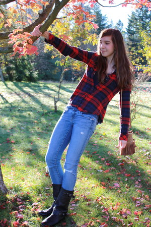 black BP boots - blue American Eagle jeans - brick red Chase blouse - tawny Roxy