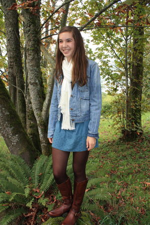 blue vintage jacket - white vintage scarf - blue vintage dress - brown miz mooz