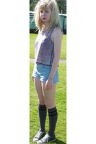 joy division H&M top - denim shorts - knee high Asda socks - Converse sneakers