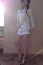 Silver-shirt-white-shorts-silver-necklace-black-heels