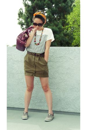 white Forever 21 shirt - green H&M skirt - brown Keds shoes - brown Forever 21 a