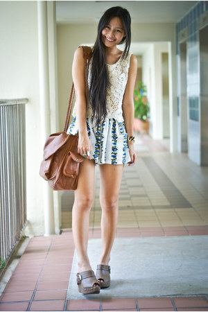 brown Mango bag - white Topshop shorts - gold diva ring