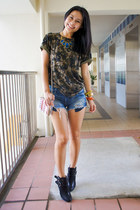 black leather new look boots - blue denim Zara shorts