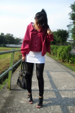 black mphosis shoes - black pvc leggings - red top - white Topshop top