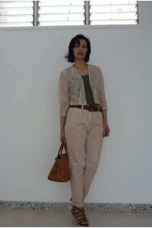 light pink cotton Zara pants - peach lace H&M jacket - tawny leather Gap bag