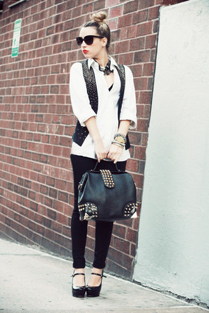 black Oasapcom bag - white Hugo Boss shirt - black Bakers heels
