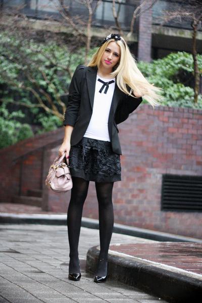 black Zara blazer - white Les Femmes Velours shirt - light pink Miu Miu bag