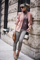 nude Forever21 blazer - brown Bershka sweater - light orange vintage bag