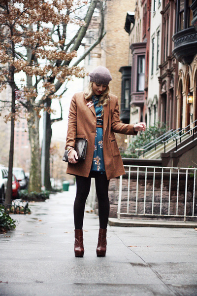 brown H&amp;M hat - dark brown Topshop boots - teal In Love with Fashion dress