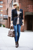 navy H&M blazer - blue Stradivarius jeans - dark brown Trussardi bag