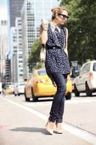 navy Big Star USA jeans - navy jovonna london shirt - peach Bufalo heels