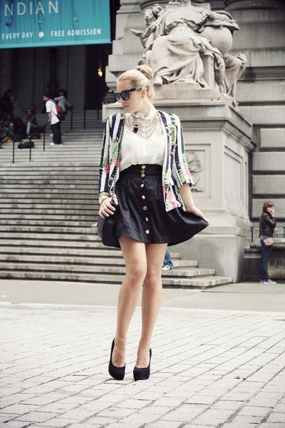 black H&M skirt - black She Inside blazer - white Forever21 shirt