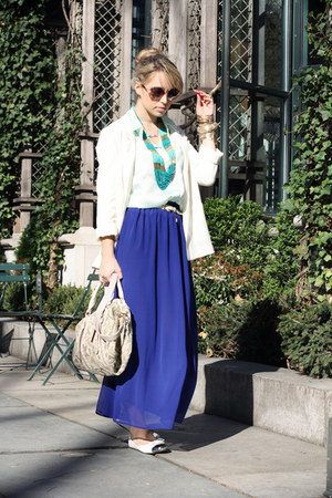 blue romwe skirt - white H&amp;M blazer - aquamarine H&amp;M shirt - nude Remy&amp;Emmy bag