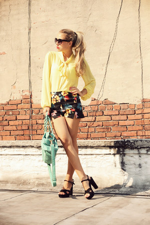 yellow necessary clothing shirt - black Lulus shorts - black manas heels