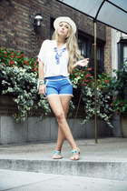 blue OASAP shorts - white Forever 21 shirt - sky blue Wallis sandals