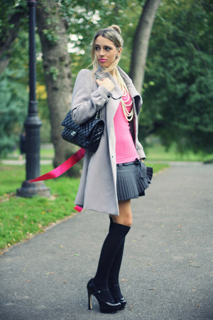 charcoal gray blugirl skirt - heather gray H&amp;M coat - black Chanel bag