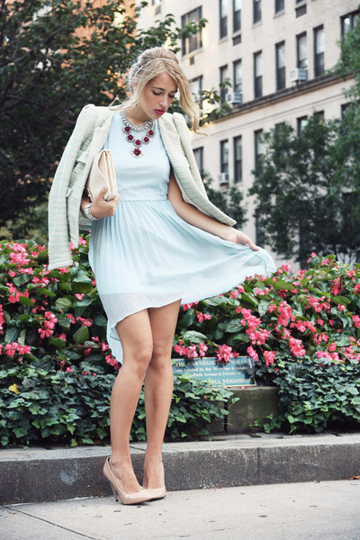 light blue Glamorous dress - aquamarine Zara blazer