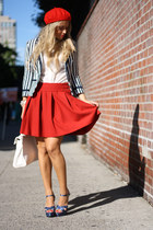blue Bakers shoes - red H&M hat - navy H&M blazer - red Zara skirt