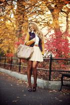 tan Prada bag - mustard DeHart blazer - nude H&M skirt - crimson sarenza heels