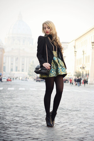 teal OASAP skirt - black MMM for H&amp;M boots - black Zara blazer
