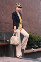 navy H&M blazer - nude Remi&Emmy bag - mustard necessary clothing blouse