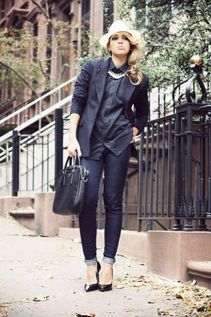 navy Zara jeans - white Borsalino hat - navy H&amp;M blazer - navy Zara shirt