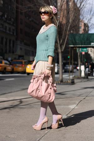 light pink Miu Miu bag - aquamarine romwe sweater - periwinkle Calzedonia tights