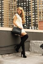 black Zara bag - ivory romwe dress - black H&M socks - black sarenza heels