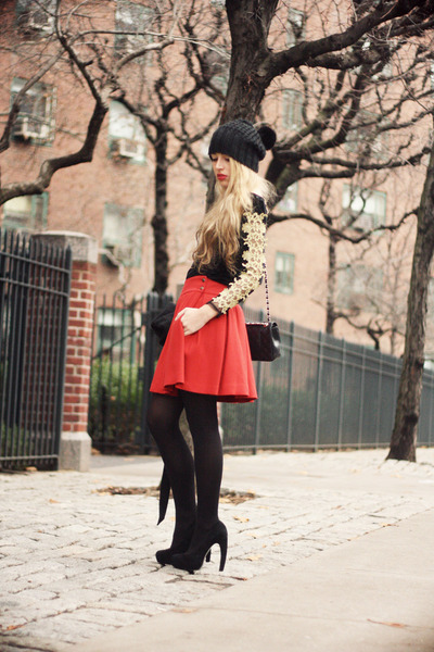 black OASAP dress - black H&M hat - black Chanel bag - ruby red Zara skirt