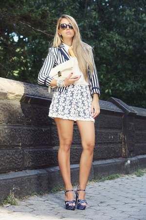 blue H&amp;M blazer - white VJ-style bag - navy Lulus shorts - navy Bakers heels