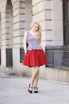 ruby red Zara skirt - black Chanel bag - black tailor & stylist top