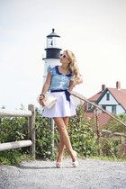 light purple American Apparel skirt - sky blue Sheinside shirt
