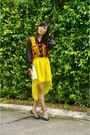 Yellow-mullet-bubbles-skirt-gold-clutch-bag-black-rubber-terra-agua-flats