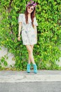 Navy-floral-vintage-dress-aquamarine-asian-vogue-boots