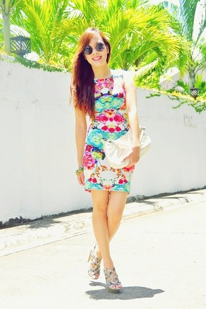 hot pink floral Ahai Shopping dress - black round Chemjoycom sunglasses