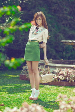 collared Topshop top - embellished H&M top - Schutz shoes - Chanel purse