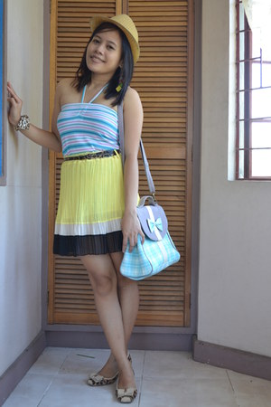 kultura hat - chatuchak market bag - Korean apparel skirt - MKJ flats
