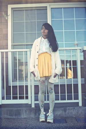 ivory Grimoire tights - ivory boots - ivory H&amp;M cardigan - white Murua blouse