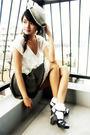 Blue-hat-white-top-gray-style-sofia-skirt-white-socks-black-nine-west-sh
