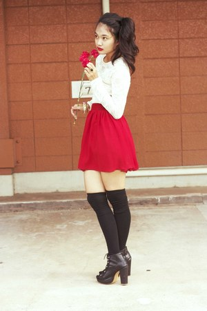red chiffon American Apparel skirt - black Parisian boots
