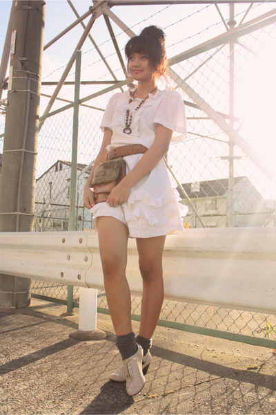 gray socks - beige shoes - white Marc Jacobs dress - brown vintage belt