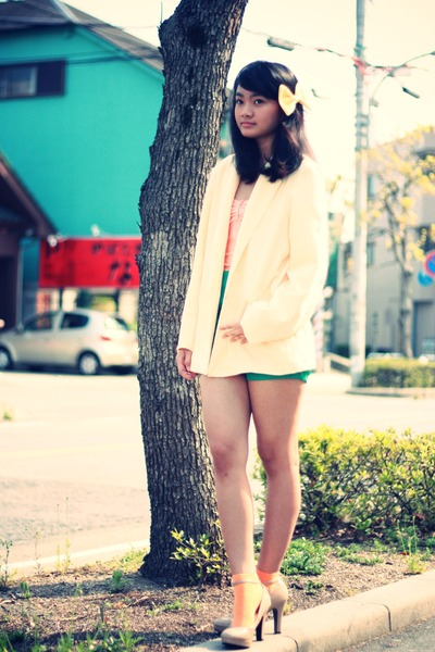 beige heels - light yellow American Apparel blazer - green shorts