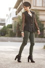 Black-parisian-boots-heather-gray-uniqlo-hat-black-vintage-blazer
