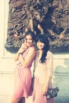 light pink dress - light brown bag - light pink cardigan