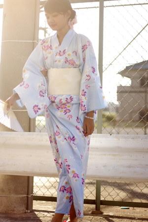 light blue yukata from japan dress - ivory obi from japan belt