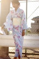 light blue yukata from japan dress - ivory obi from japan belt
