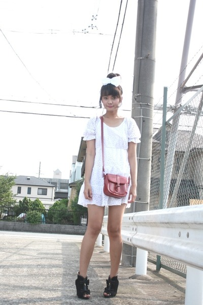 white dress - black Liz Lisa boots - red vintage bag