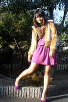 brown vest - beige jacket - purple Chocolate Clothing dress - purple shoes